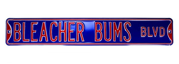 Chicago Cubs Bleacher Bums Blvd Officially Licensed Authentic Steel 36×6 Blue & Red MLB Street Sign