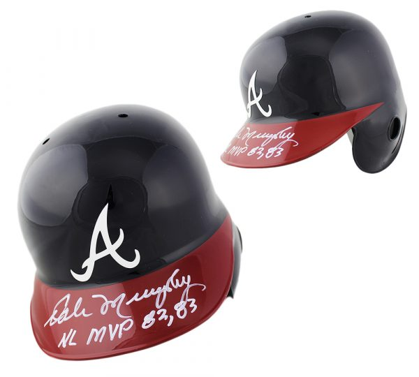 "Dale Murphy Signed Atlanta Braves Rawlings Current Authentic MLB Batting Helmet with ""NL MVP 82, 83"" Inscription"