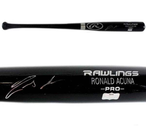 Ronald Acuna Signed Atlanta Braves Rawlings Pro Engraved Black MLB Bat