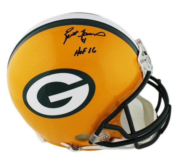 "Brett Favre Signed Green Bay Packers Authentic NFL Helmet with ""HOF 16"" Inscription"