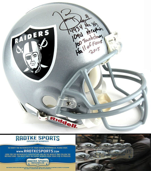 Tim Brown Autographed/Signed Oakland Raiders Riddell Authentic NFL Helmet with Career Stats Inscription