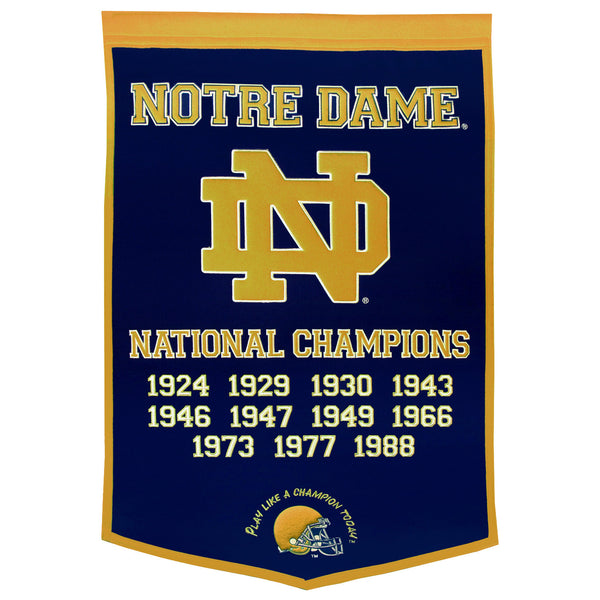 NOTRE DAME FIGHTING IRISH NAVY DYNASTY BANNER