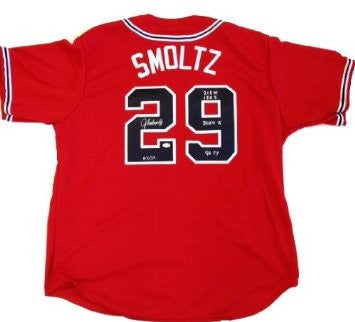 John Smoltz Autographed/Signed Official Majestic Jersey Career Statistics Limited Edition Of 29