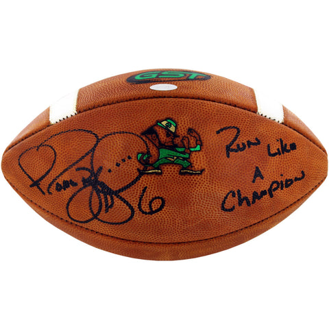 "Jerome Bettis Signed Notre Dame Game Model Football w/ ""Run Like a Champion Today"""