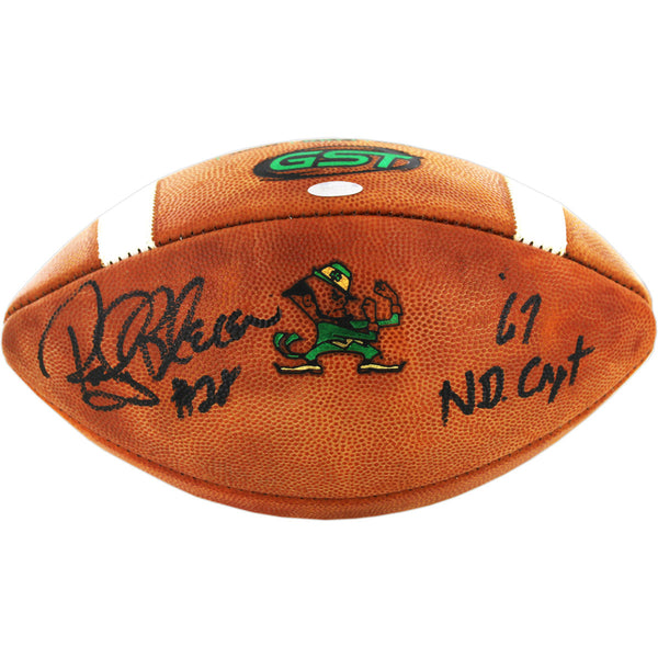 "Rocky Bleier Signed Notre Dame Game Model Football w/ ""67 ND Capt"" inscription"
