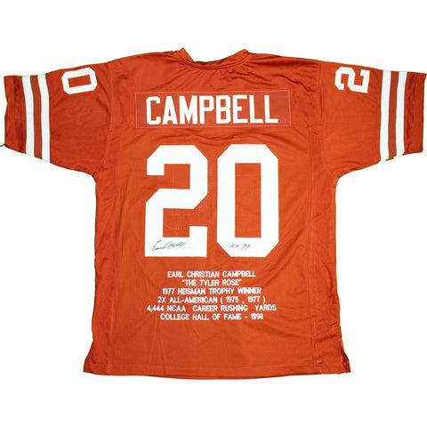 "Earl Campbell Signed Texas Longhorns Orange Embroidered Jersey w/ ""HT 77"" Insc (JSA)"