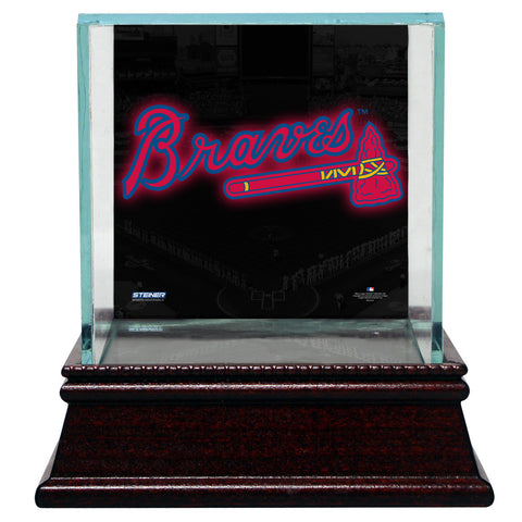 Atlanta Braves Glass Single Baseball Case with Team Logo Background