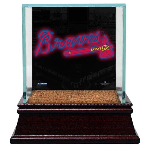 Atlanta Braves Glass Single Baseball Case with Team Logo Background and Authentic Field Dirt Base