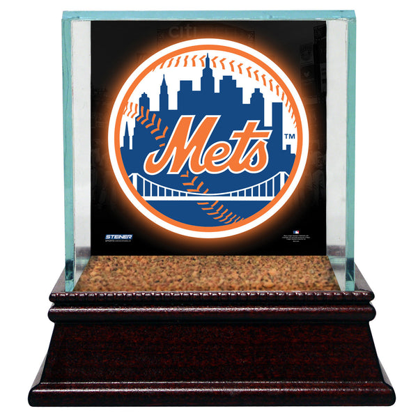 New York Mets Glass Single Baseball Case with Team Logo Background and Authentic Field Dirt Base - Memorabilia - SPORTSCRACK