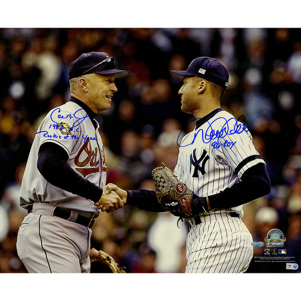 "Cal Ripken Jr. & Derek Jeter Dual Signed Shaking Hands 16x20 Photo w/ ""1982 AL Rookie of the Year"" Insc. by Ripken Jr. & ""96 ROY"" Insc. by Jeter - Memorabilia - SPORTSCRACK"