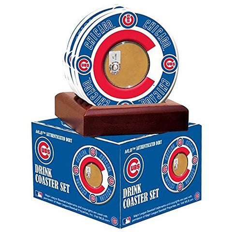 Chicago Cubs Coasters w/ Game Used Dirt (Set of 4)