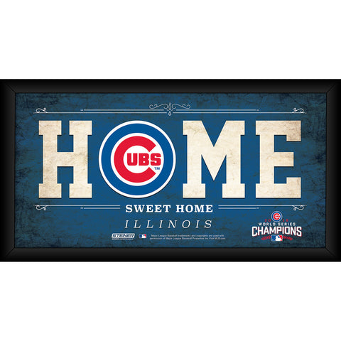 Chicago Cubs 2016 World Series Champions Framed 6x12 Home Sweet Home Sign