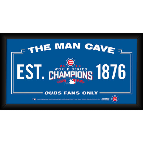Chicago Cubs 2016 World Series Champions Framed 10x20 S Man Cave Sign