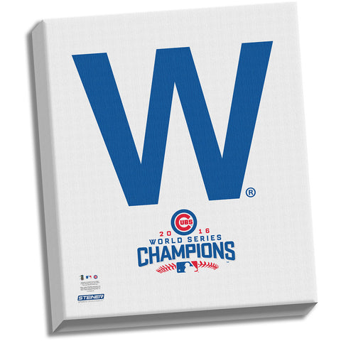 "Chicago Cubs ""The W"" 2016 World Series Champions 22x26 Celebration Stretched Canvas"
