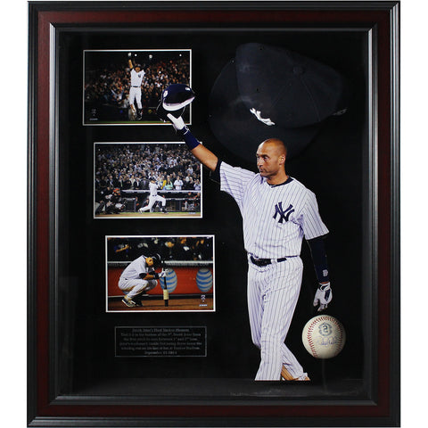 Derek Jeter Final Game at Yankee Stadium Framed Shadowbox w/ Signed Game Used 2014 Baseball and Commemorative Hat (20x24)