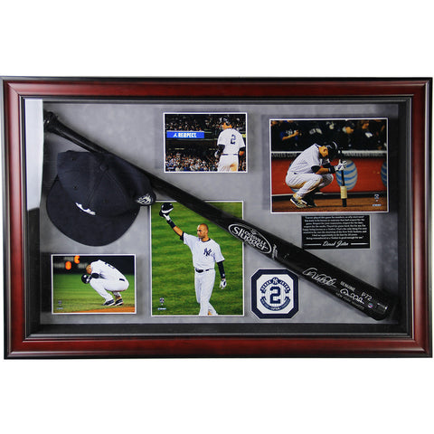 Derek Jeter Signed Game Model Bat Collage with Photos Hat and Quote (20x32x22)