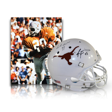 Earl Campbell & Ricky Williams Dual Signed Texas Longhorns Full Size Replica Schutt Helmet w/ Heisman Years Insc.