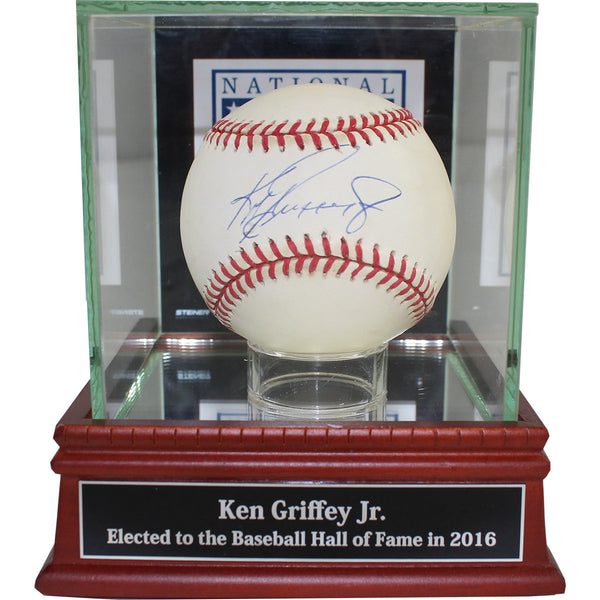 Ken Griffey Jr. Signed AL (Gene Budig) Baseball w/ Baseball Hall of Fame Logo Background Glass Case and Nameplate (PSA/DNA Auth) - Memorabilia - SPORTSCRACK