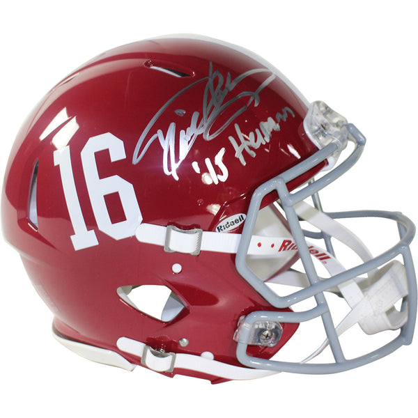 "Derrick Henry Signed Alabama #16 Speed Authentic Helmet w/ ""15 Heisman"" Insc"