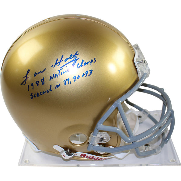 "Lou Holtz Signed Notre Dame Authentic Helmet w/ ""1988 National Champs Screwed in 89 90 93"" Inscription"