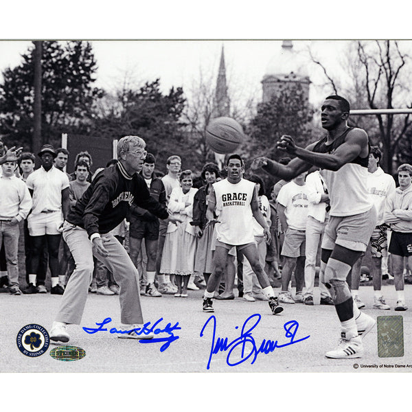 Lou Holtz/Tim Brown Dual Signed Playing Basketball 8x10 Photo