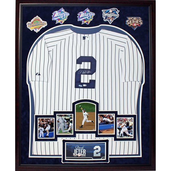 Derek Jeter Signed Yankees Home Jersey Framed w/ Career Moments Images and 5 WS Patches (32x40 6443)