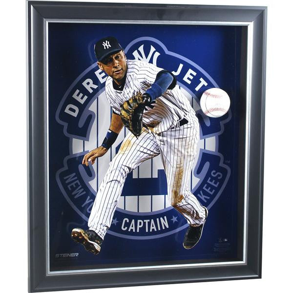 Derek Jeter Pop Out 20x24 Shadowbox with Signed baseball