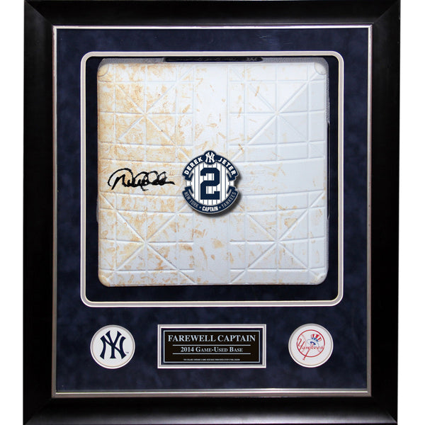 Framed 20x24 Derek Jeter Signed 2014 Jeter's Final Season Game Used Base Collage(MLB Authenticated) - Memorabilia - SPORTSCRACK