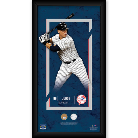 Aaron Judge New York Yankees 10x20 Player Profile with Game Used Yankee Stadium Dirt and Uniform Swatch