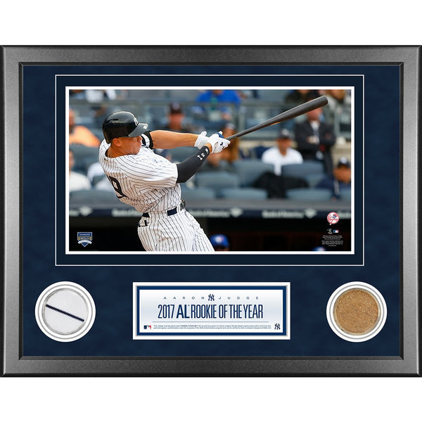 Aaron Judge New York Yankees 2017 Rookie of the Year 11x14 Framed with Game Used Uniform and Game Used Dirt from Rookie Season