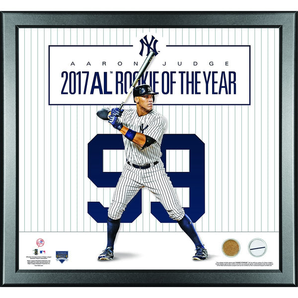 Aaron Judge New York Yankees 2017 Rookie of the Year #99 16x20 Framed with Game Used Uniform and Game Used Dirt from Rookie Season
