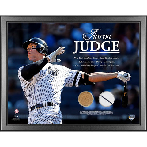 Aaron Judge New York Yankees 2017 Rookie of the Year 2017 Statistics 16x20 Framed with Game Used Uniform and Game Used Dirt from Rookie Season