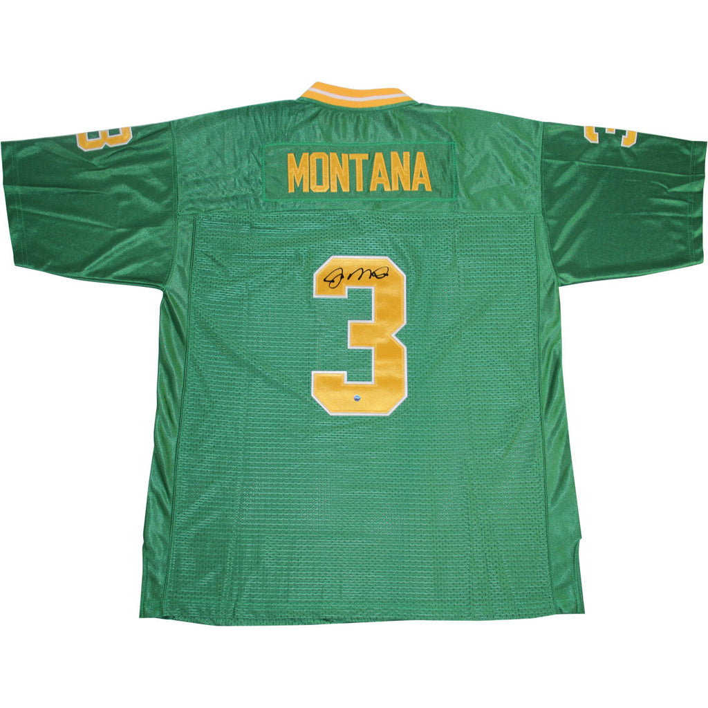 finest selection 45dd5 f6fac Joe Montana Signed Green Notre Dame Replica Jersey