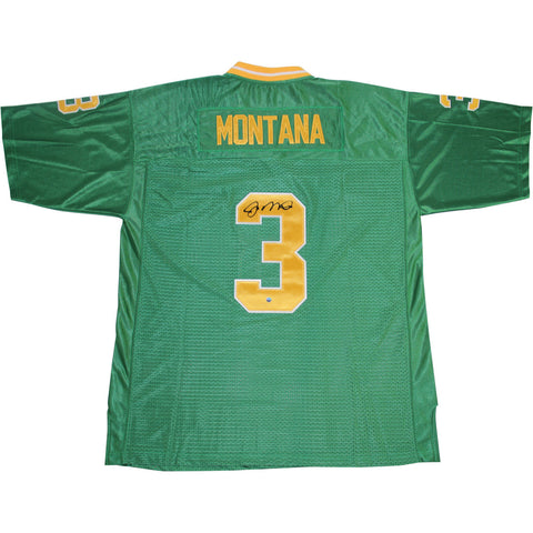 Joe Montana Signed Green Notre Dame Replica Jersey