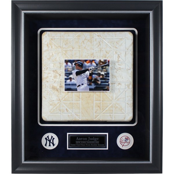 Aaron Judge Framed Rookie Season Game Used Base 24x27 Collage w/ 2017 Yankee Game Used Base