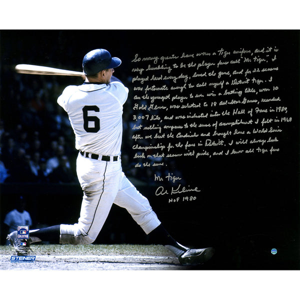 Al Kaline Signed Detroit Tigers Swing Horizontal 16x20 Story Photo - Memorabilia - SPORTSCRACK