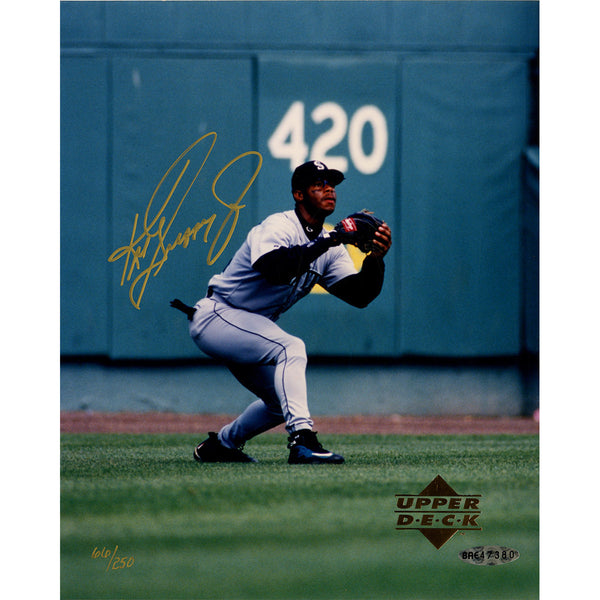 Ken Griffey Jr Signed Diving Catch 8x10 Photo (UDA)