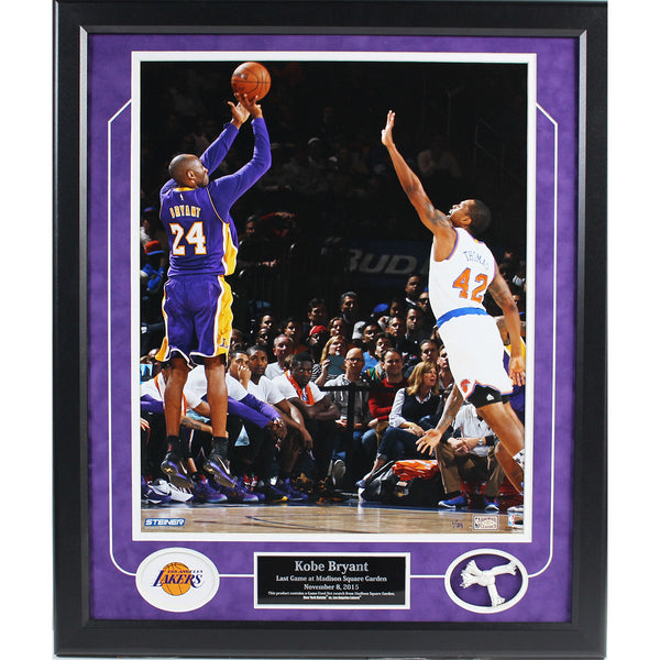 Kobe Bryant Last Game at MSG 16x20 Photo w/ Piece of Game Used Net Collage (LE/24)(20x24) - Memorabilia - SPORTSCRACK