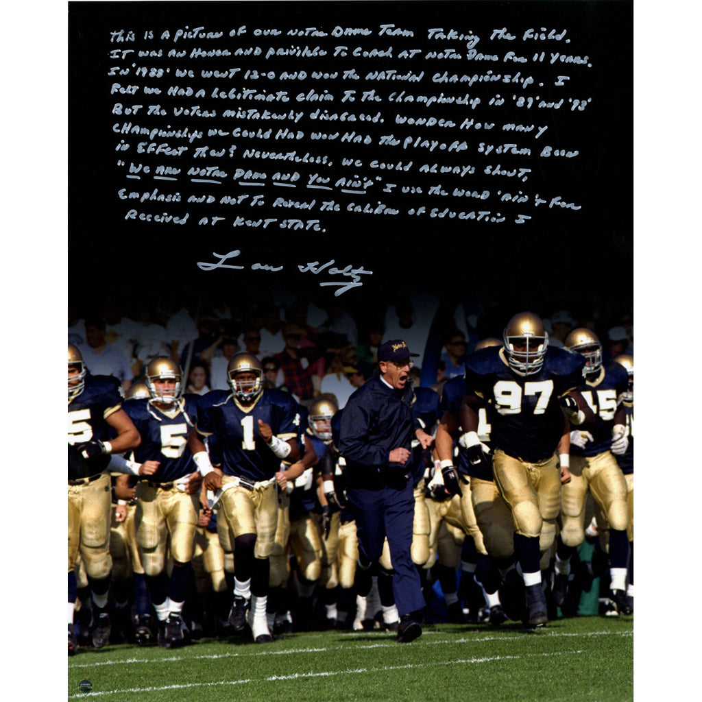 Lou Holtz Running Out Notre Dame Tunnel Signed Vertical 16x20 Story Ph Sportscrack