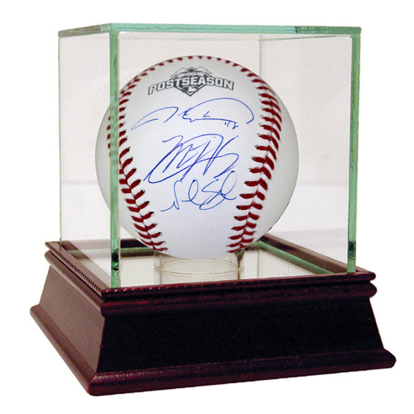 Matt Harvey Jacob deGrom & Noah Syndergaard Triple Signed 2015 MLB Postseason Logo Baseball - Memorabilia - SPORTSCRACK