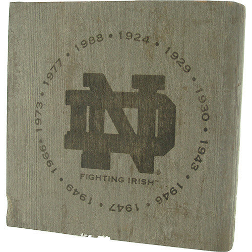 Notre Dame Fighting Irish - National Champion Years Engraved 7x7 Bench Slab