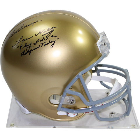 "Lou Holtz/Ara Parseghian Dual Signed Notre Dame Replica Full Size Helmet w/ ""Play Like a Champion Today"" Insc. by Lou Holtz (Signed in Black)"