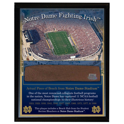 Notre Dame Game Used Bench Slab 8x10 Plaque w/Stadium Image - Memorabilia - SPORTSCRACK