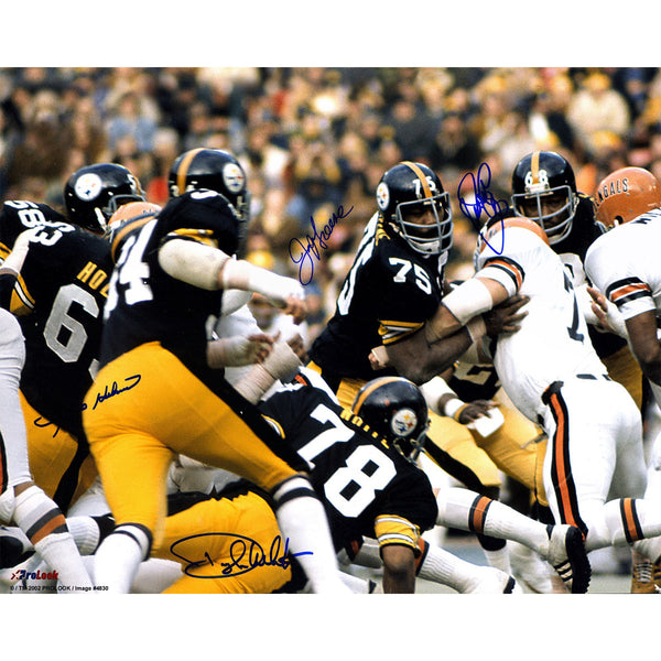 Pittsburgh Steelers Steel Curtain Multi Signed 24x30 Photo (Signed By Joe Greene Ernie Holmes Dwight White L.C Greenwood) (PSA/DNA)
