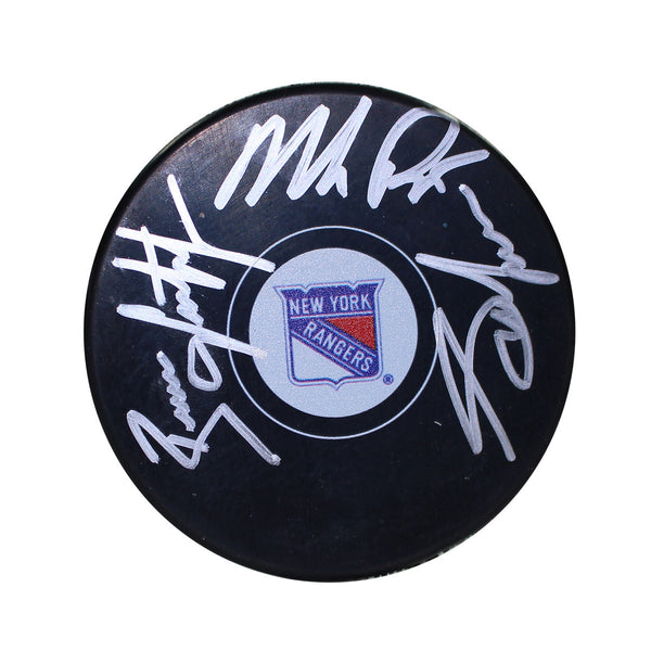 Adam Graves/Mike Richter/Brian Leetch Triple Signed New York Rangers Logo Puck