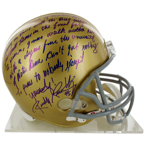 "Rudy Ruettiger Signed Replica Notre Dame Full Size Helmet w/ ""Five Foot Nothing…"" quote (Signed in Blue)"