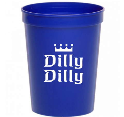 Dilly Dilly Beer 16 ounce Blue Plastic Stadium Cup