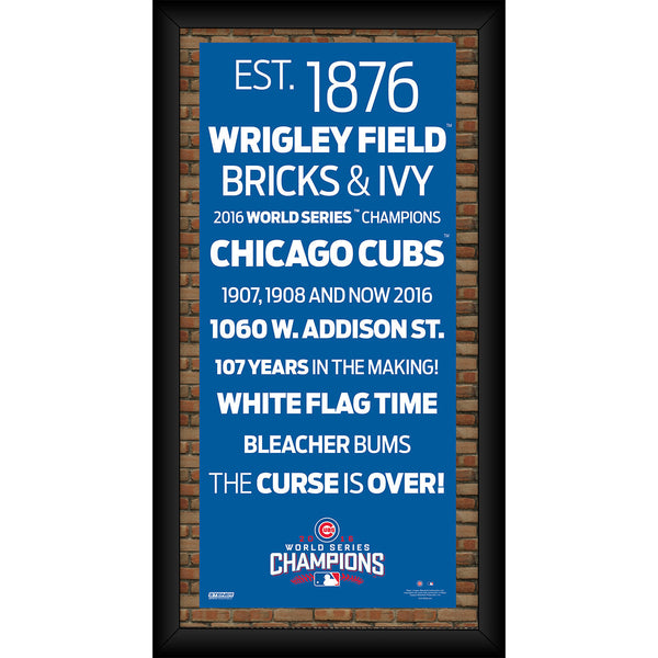 Chicago Cubs 2016 World Series Champions Framed 10x20 Subway Sign