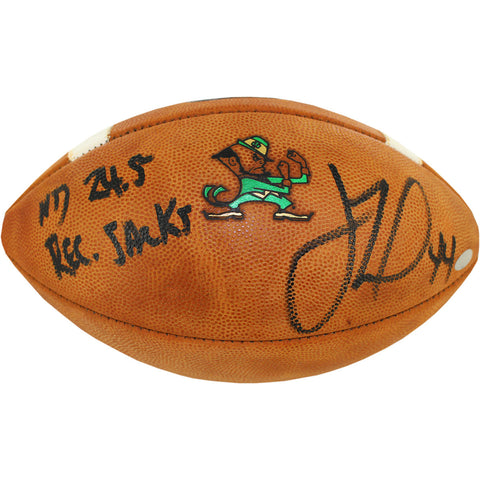 "Justin Tuck Signed Notre Dame Game Model Football w/ ""ND 24.5 Record Sacks"""