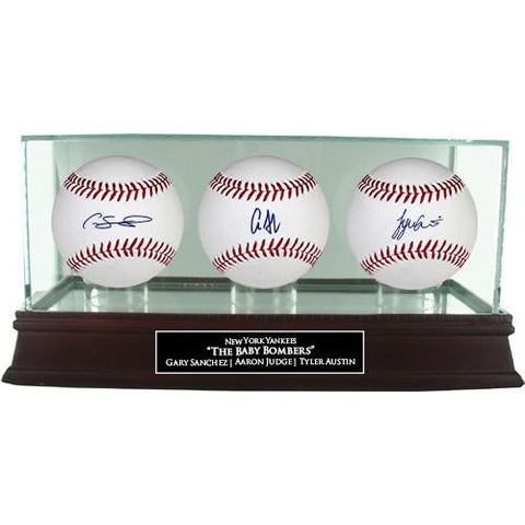 Tyler Austin/Aaron Judge/Gary Sanchez 3-ball set with Glass Display Case and Nameplate
